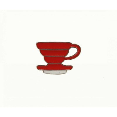 COFFEE DRIPPER RED BROOCH